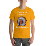 Bella and Canvas Short-Sleeve Unisex T-Shirt: immigrants white text