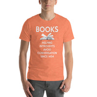 Bella and Canvas Short-Sleeve Unisex T-Shirt: Books helping introverts original artwork