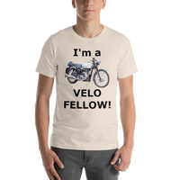 Bella and Canvas Short-Sleeve Unisex T-Shirt: Velo Fellow black text