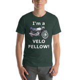 Bella and Canvas Short-Sleeve Unisex T-Shirt: Velo Fellow white text