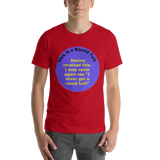 Bella and Canvas Short-Sleeve Unisex T-Shirt: Round Tuit yellow text on blue