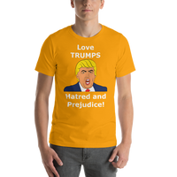 Bella and Canvas Short-Sleeve Unisex T-Shirt: Love TRUMPS Hatred white text