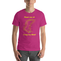 Bella and Canvas Short-Sleeve Unisex T-Shirt: Creg-ny-Baa yellow text