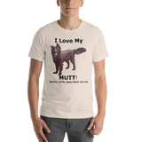 Bella and Canvas Short-Sleeve Unisex T-Shirt: Mutt with added text, Black text