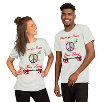 Bella and Canvas Short-Sleeve Unisex T-Shirt: Strive for Peace red text