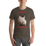 Bella and Canvas Short-Sleeve Unisex T-Shirt: kneads me Siamese red text