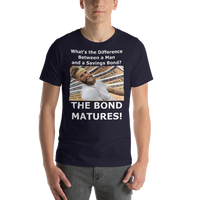 Bella and Canvas Short-Sleeve Unisex T-Shirt: Difference man bond white text
