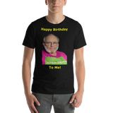 Bella and Canvas Short-Sleeve Unisex T-Shirt: Happy Birthday yellow text