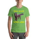 Bella and Canvas Short-Sleeve Unisex T-Shirt: Wag more yellow text