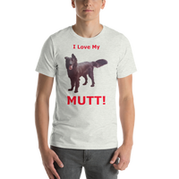 Bella and Canvas Short-Sleeve Unisex T-Shirt: Mutt red text
