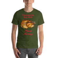 Bella and Canvas Short-Sleeve Unisex T-Shirt: Thanksgiving 2018 roast red text