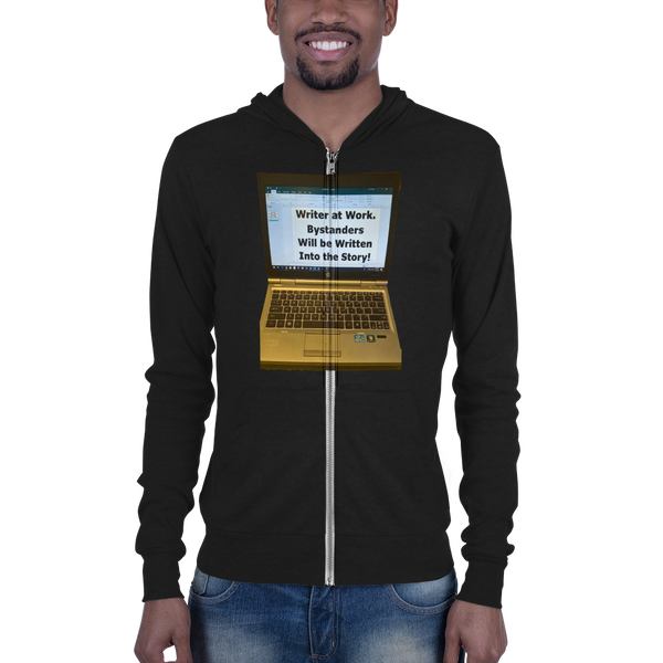 B & C Unisex zip hoodie: Writer at work no text