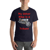 Bella and Canvas Short-Sleeve Unisex T-Shirt: Triton red text
