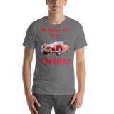Bella and Canvas Short-Sleeve Unisex T-Shirt: Twink red text.