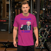 Bella and Canvas Short-Sleeve Unisex T-Shirt: Hindsight is 2020 blue text