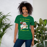 Bella and Canvas Short-Sleeve Unisex T-Shirt: Naughty list yellow text