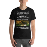 Bella and Canvas Short-Sleeve Unisex T-Shirt: The road not taken white text