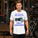 Bella and Canvas Short-Sleeve Unisex T-Shirt: Favorite bike Egli Vincent blue text