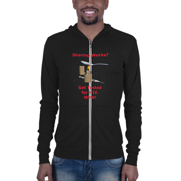 B & C Unisex zip hoodie: Sharing Works red text