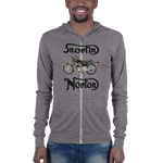 B & C Unisex zip hoodie: Snortin Norton black text
