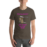 Bella and Canvas Short-Sleeve Unisex T-Shirt: Sharing Works magenta text