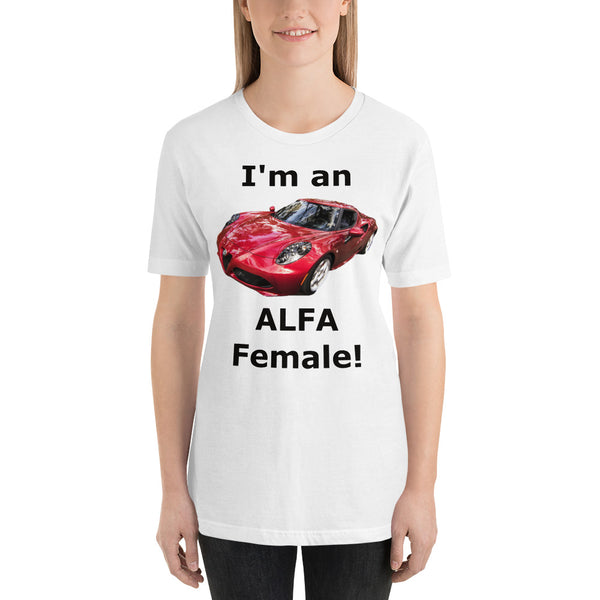 Bella and Canvas Short-Sleeve Unisex T-Shirt: Alfa Female black text