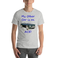 Bella and Canvas Short-Sleeve Unisex T-Shirt: Other car Ace blue text