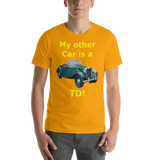 Bella and Canvas Short-Sleeve Unisex T-Shirt: yellow text