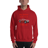 Gildan Hooded Sweatshirt: 100-4 red text