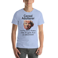 Bella and Canvas Short-Sleeve Unisex T-Shirt: Cereal aldulterer black text