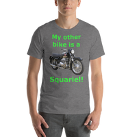 Bella and Canvas Short-Sleeve Unisex T-Shirt: Squariel green text