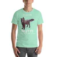 Bella and Canvas Short-Sleeve Unisex T-Shirt: Mutt added white text
