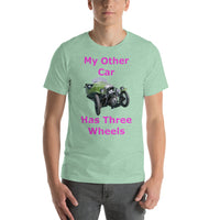 Bella and Canvas Short-Sleeve Unisex T-Shirt: Three wheels magenta text