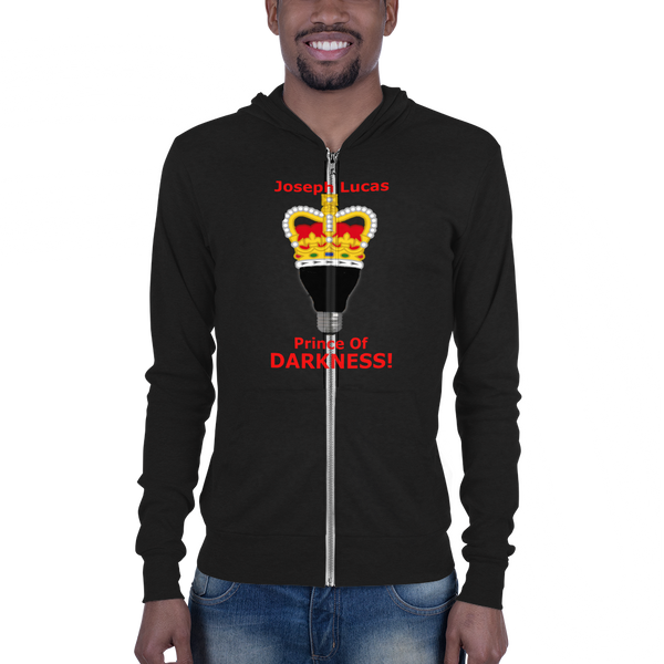 Bella and Canvas Unisex zip hoodie: Prince of Darkness red text