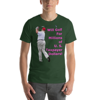 Bella and Canvas Short-Sleeve Unisex T-Shirt: millions of taxpayer dollars magenta text