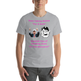 Bella and Canvas Short-Sleeve Unisex T-Shirt: bath or showers magenta text