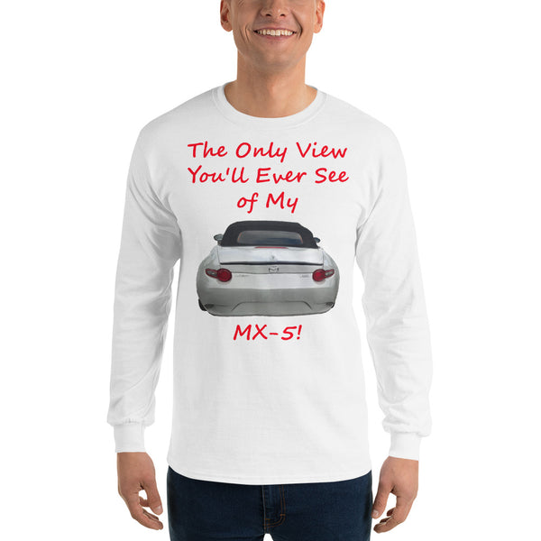 Gildan Long Sleeve T-Shirt: Only view MX-5 red text