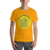Bella and Canvas Short-Sleeve Unisex T-Shirt: Round Tuit Blue text on yellow