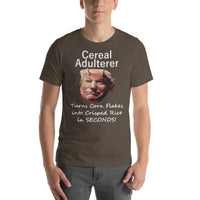 Bella and Canvas Short-Sleeve Unisex T-Shirt: Cereal adulterer white text