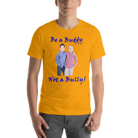 Bella and Canvas Short-Sleeve Unisex T-Shirt: Buddy not Bully children blue text