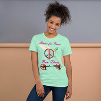 Bella and Canvas Short-Sleeve Unisex T-Shirt: Strive for Peace magenta text