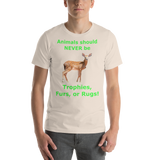 Bella and Canvas Short-Sleeve Unisex T-Shirt: Animals should NEVER be green text