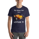 Bella and Canvas Short-Sleeve Unisex T-Shirt: Lotus 7 white text