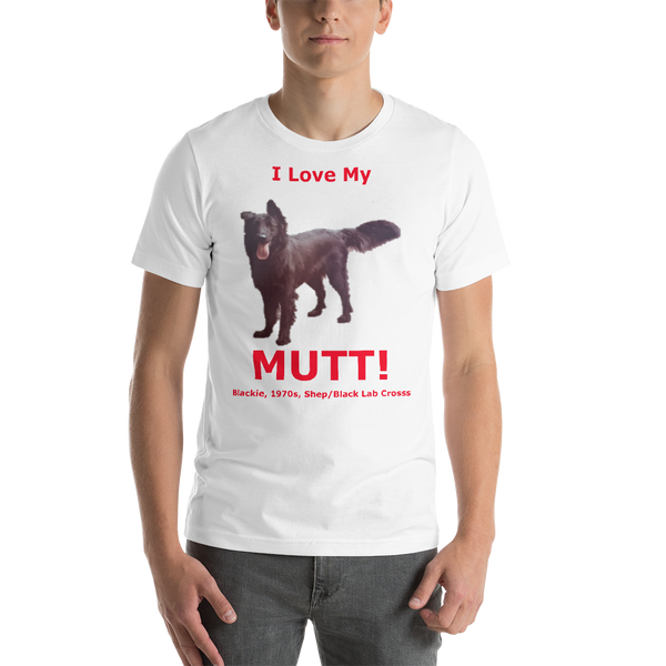 Bella and Canvas Short-Sleeve Unisex T-Shirt: Mutt added red text