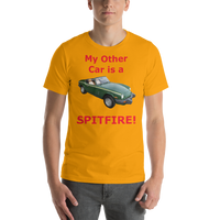 Bella and Canvas Short-Sleeve Unisex T-Shirt: Spitfire red text