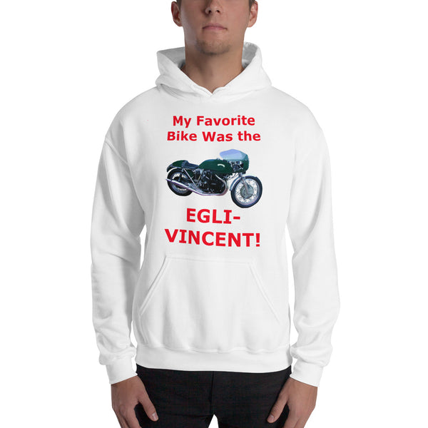 Gildan Hooded Sweatshirt: Favorite Bike Egli Vincent red text