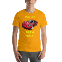 Bella and Canvas Short-Sleeve Unisex T-Shirt: Alfa Male yellow text