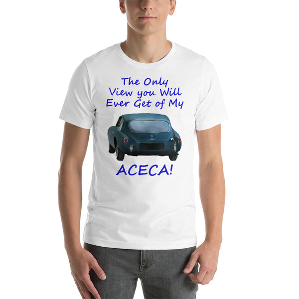 Bella and Canvas Short-Sleeve Unisex T-Shirt: Only view Aceca blue text
