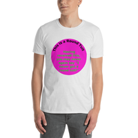 Gildan Short-Sleeve Unisex T-Shirt: Round Tuit green text on magenta