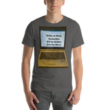 Bella and Canvas Short-Sleeve Unisex T-Shirt: Writer at work on screen